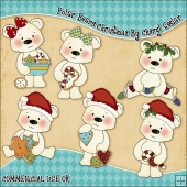 Polar Bears Christmas ClipArt Graphic Collection