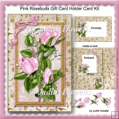 Pink Rosebuds Gift Card Holder Card Kit
