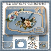 Magic Garden Bird And Flowers Blue Card Kit