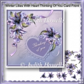 Winter Lilies With Heart Thinking Of You Card Front