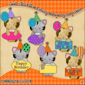 Sweet Little Kitties Birthday Message ClipArt Graphic Collection