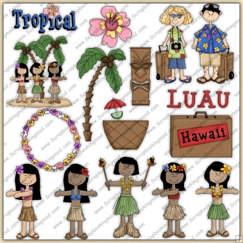 Hawaiian Luau Party ClipArt Graphic Collection