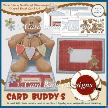 More Beary Greetings Decoupage Shaped Easel Card Kit