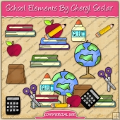 School Elements ClipArt Graphic Collection - REF - CS