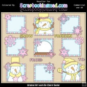 RESALE ART WORK Pink & Yellow Let It Snow Squares ClipArt