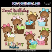 Bailey Bear Loves Cupcakes ClipArt Graphic Collection