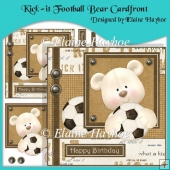 Kick-it Football Birthday Bear Cardfront