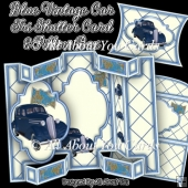 Blue Vintage Car Tri Shutter Card Set