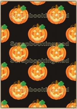Backing Papers Single - Black & Orange pumpkins - REF_BP_100