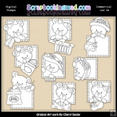 Peek A Boo Bears Shopping Digital Stamp Graphic Collection