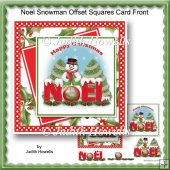 Noel Snowman Offset Squares Card Front