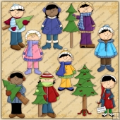 Xmas Tree Shopping ClipArt Graphic Collection
