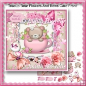 Teacup Bear Flowers And Bows Card Front