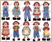 Raggedy Mini ClipArt Graphic Collection
