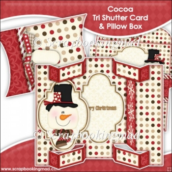 Cocoa Tri Shutter Card With Matching Pillow Box