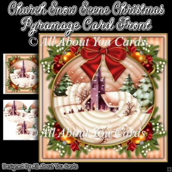 Church Snow Scene Christmas Pyramage Card Front