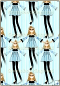 A4 Backing Papers Single - Blue Girls - REF_BP_159
