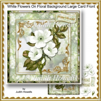 White Flowers On Floral Background Large Card Front