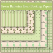 5 Green Ballerina Bears Backing Papers Download (C162)