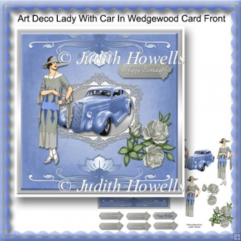 Art Deco Lady With Car in Wedgewood Card Front