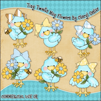 Tiny Tweets May Flowers ClipArt Graphic Collection