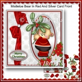 Mistletoe Bear In Red And Silver Card Front