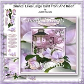 Oriental Lilies Large Card Front And Insert