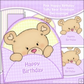 Lilac Happy Birthday Tatty Bear Envelope Decoupage