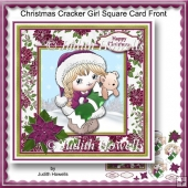 Christmas Cracker Girl Square Card Front