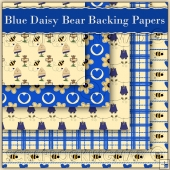 5 Blue Daisy Bear Backing Papers Download (C96)