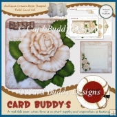 Antique Cream Rose Shaped Fold Card Kit