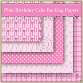 5 Pink Birthday Cake Backing Papers Download (C143)