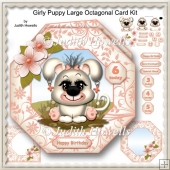 Girly Puppy Large Octagonal Card Kit