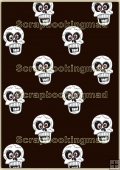 Backing Papers Single - Black With White Skulls - REF_BP_104
