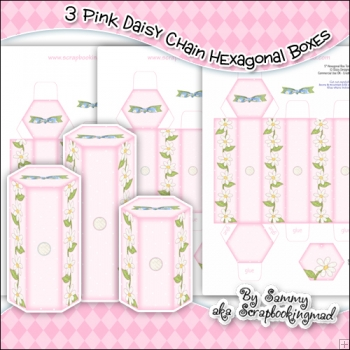 3 Pink Daisy Chain Hexagonal Boxes
