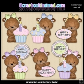 Bailey Bear Birthday ClipArt Graphic Collection