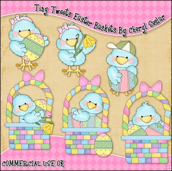 Tiny Tweets Easter Baskets ClipArt Graphic Collection