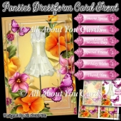 Pansies Dressform Card Front and Insert Plate