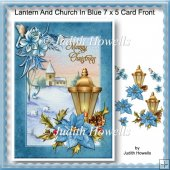 Lantern And Church In Blue 7 x 5 Card Front
