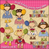 Bright Birthday Girls ClipArt Graphic Collection