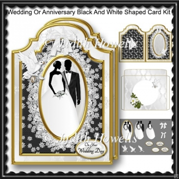 Wedding Or Anniversary Black And White Shaped Card Kit