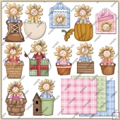 Sunflower Kids 1 ClipArt Graphic Collection