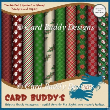 Ten A4 Red & Green Christmas Background Papers – CU/PU