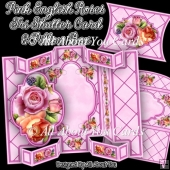 Pink English Roses Tri Shutter Card Set