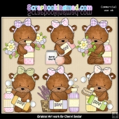 Bailey Bear Bath and Body ClipArt Graphic Collection