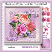 Rose Bouquet In Lilac Frame Card Front And Insert