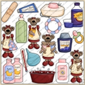 Mama Bear Get Well Baby ClipArt Graphic Collection