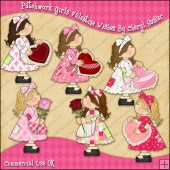Patchwork Girls Valentine Wishes ClipArt Graphic Collection