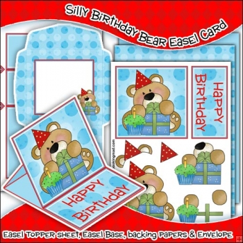 Silly Birthday Bear PDF Easel Card Download