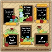 Book Worm School ClipArt Graphic Collection